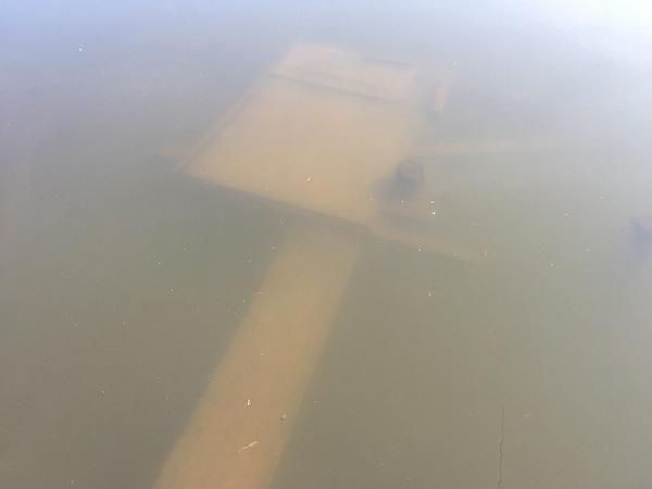 早朝からの大雨で水位が上がって沈んでるヘラ台