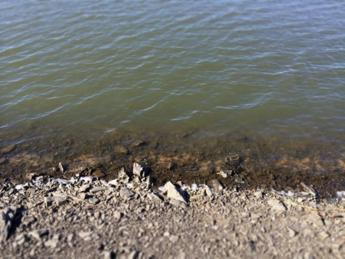 2014年3月22日釣行時の水際の様子 濁りあり